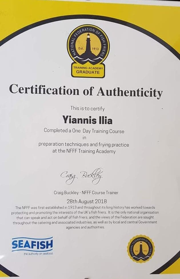 Certificate of One Day Training for Food Preparation and Frying