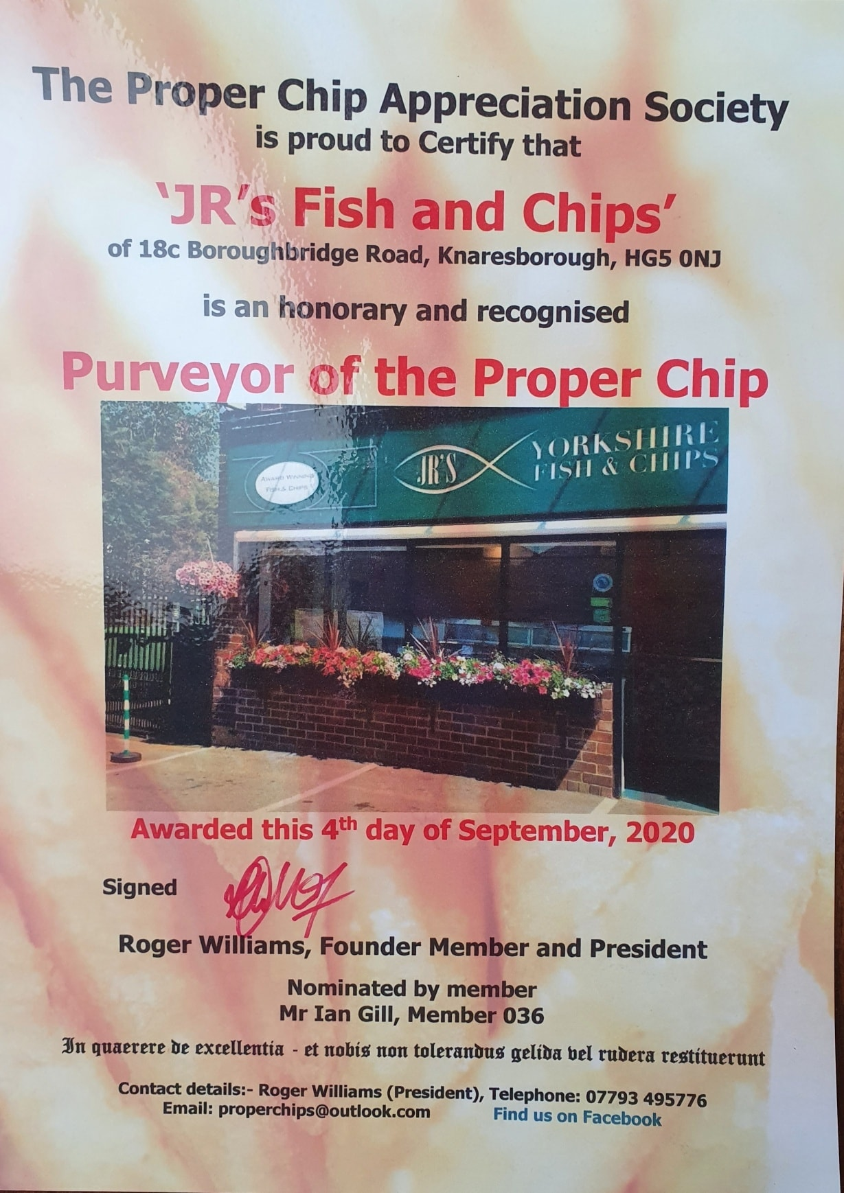 Proper Chip Appreciation Society: JR's Fish and Chips is an honarary and recognised Purveyor of the Proper Chip.