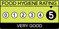 5 stars (very good) on Food Hygiene Rating!